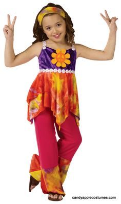 Childu0027s Tie Dye Hippie Costume - 60s and 70s Costumes - Candy Apple Costumes  sc 1 st  Pinterest & Peaced Out Costume - Childrenu0027s Hippie Costume | Audrey Stuff ...