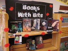 Books with bite. Creatures of the Night, Halloween, scary books, vampires/werewolves/zombies etc.