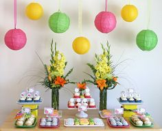 Luau Party Dessert Table - with all the recipes included for cupcakes Aloha Party, Luau Theme Party, Hawaiian Luau Party, Hawaiian Theme, Party Party, Luau Birthday, Birthday Parties, Birthday Ideas, Luau Party Desserts