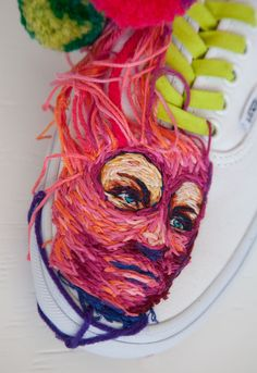 Embroidering rackets rather than swinging them, Danielle Clough (previously) uses thick thread to create multi-colored images of aloe and other fauna on vintage tennis rackets, the strings acting as her loom. Recently the Cape Town-based artist and designer was commissioned by Vans to embroi