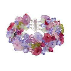 The Giverny in Crystal Bracelet, a wearable field of spring flowers!