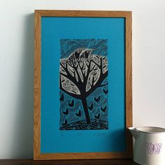 Nest - linocut with chine colle by Liz Toole