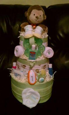 3 tier monkey neutral diaper cake #diaper #baby #gift