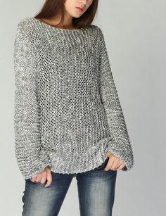 Suéter de mujer gris Eco algodón suéter largo de punto a mano