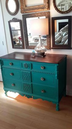 Antique Dresser - Florence - Annie Sloan Chalk Paint - Java Gel Stain by General Finishes on top. ReCherished Root's, Gig Harbor, Wa.
