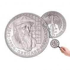 BRD 5 DM 1969 375. Todestag Gerhard Mercator, 625er Silber, 11,2g, Ø 29mm, Prägestätte F (Stuttgart), Jaeger-Nr. 400F, Auflage: wenige Exemplare