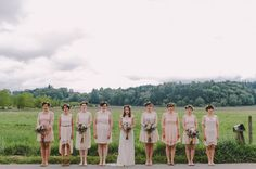 Bridesmaids in blush lace dresses