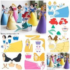 Disney princesses are almost a part of young girls. Disney has released several Disney princess movies since the Disney Renaissance that ended in 2000 and the Company still advertises all…DIY Disney Paper Princess dolls - these are just adorable! Disney Princess Crafts, Disney Princess Birthday Party, Disney Princess Movies, Disney Diy, Disney Crafts, Disney Princesses, Cinderella Party, Diy And Crafts, Arts And Crafts