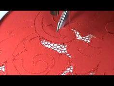 Машинная вышивка ☀ Вышивка ришелье ☀ Мозаичная сеточка на платье☀ - YouTube