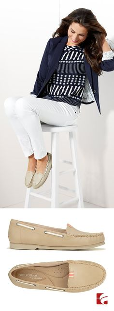 Neutral, leather loafers with a moc stitched toe go with everything (skinnies, cuffed jeans, preppy dresses, etc!) Check them out in navy too.