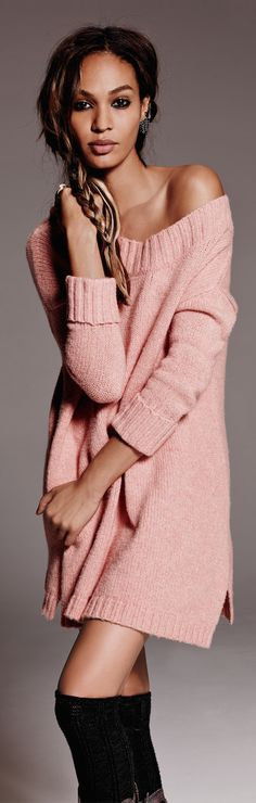 Free People On a Roll Sweater Tunic (Soft and luxe pullover sweater tunic with ribbed trim. Available in washed rose and light grey)