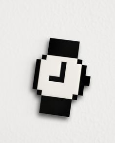Mac Pixel clock icon brooch by bRainbowshop on Etsy, $35.00