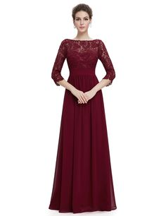 8412BD Sexy Burgundy Women's Elegant 3/4 Sleeve Lace Long Evening Dress - Ever-Pretty