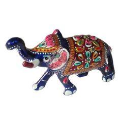 ELEPHANT ALUMINUM METAL WITH ENAMEL WORK INDIAN MINAKARI WORK 7X8.5 CMS