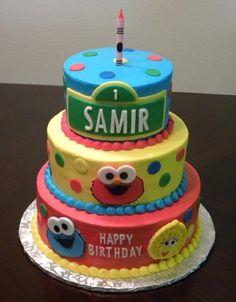 Baby Sesame Street ... Hand Cut Layered Fondant Details :)