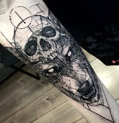 Wolf & skull abstract sketch style by Fredão Oliveira. http://tattooideas247.com/wolf-skull/