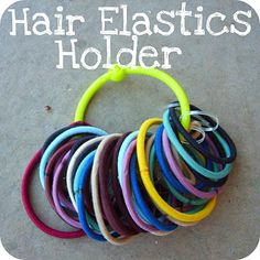 Hair Elastic Holder    Made from a measuring cup ring!    www.the-red-kitchen.com