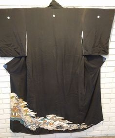 vintage silk kimono black with landscape metallic