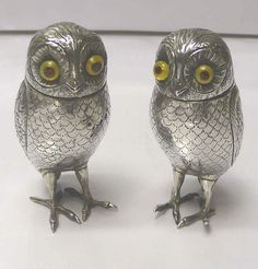Pair of Antique Silver Owl Condiments (Netherlands) removable heads and glass liners...suitable for salt & pepper or mustard