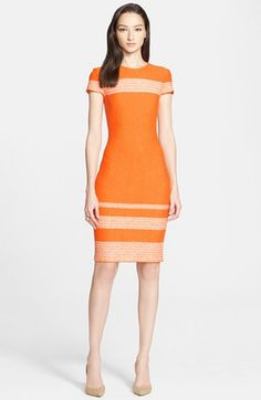 St. John Collection Micro Tweed Engineered Stripe Dress available at #Nordstrom