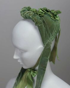 Green velvet half bonnet | c. 1870s | MFA Boston