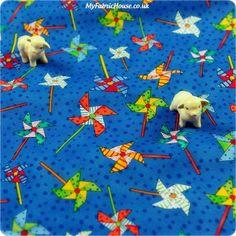 Fairy Tale ♥ 53x50cm Fun Pinwheels in Capri Blue Cotton Fat Quarter Fabric
