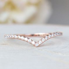 Elegant Rose Gold Brass Thin Cubic Zirconia V Chevron Ring - April Birthstone Gemstone Wedding Jewelry Gift for Bridal or Bridemaid