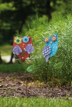 "Owl Garden Stakes - 2 Asst. by Outdoor Décor. $33.49. 6.5""W x 22.5""H. 2 Assorted. Metal. Part of the Bright Companions collection. Multi-colored. These bright companions are exactly that - vivid, vibrant, and cheerful. These colorful owl stakes are made out of detailed and colorful layered metal with a unique artistic hand-crafted look, creating eye-catching additions to your outdoor space. Anyone who comes upon them will be forced to smile at their whimsical and unexpected presence."