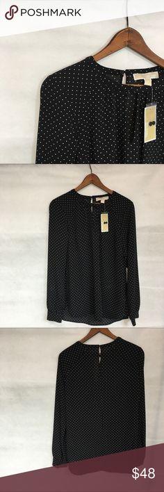 Michael Kors long sleeve polka dot top Pretty polyester black and whit polka dot. Michael Kors Tops Tunics