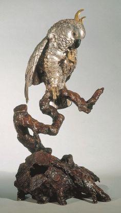 Cockatoo Figure Japan Meiji dated 1911 signed 'Toshihiko saku' (Nishimura Toshihiko) silvered bronze, shakudo, patinated in gilt height 61 cm