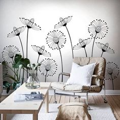 Black and White Dandelions Peel and Stick Mural, Self Adhesive Floral Wallpaper, Removable Wall Decor with Cute Flowers, Nursery Sticker – Car Sticker White Dandelion, Nursery Stickers, Wall Painting Decor, Wall Drawing, Removable Wall, Wall Treatments, Textured Walls, Diy Wall, Bedroom Wall