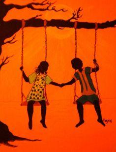 Black love art paintings