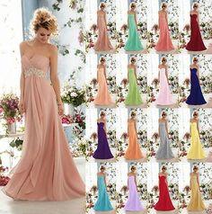 langes Formales Abendkleid Partei-Abschlussball-Brautjungfer Kleid Größe 32-42