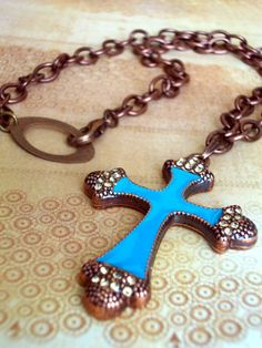 Copper and Teal Rhinestone Cross Pendant by JustBeCreative on Etsy