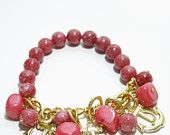 Rhodonite Bracelet With Dangling Anchors