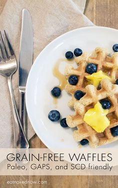 Yum, yum, yum. Easy and healthy waffle recipe for your next brunch. Grain Free Waffles - Paleo, GAPS, and SCD Friendly | eatnakednow.com