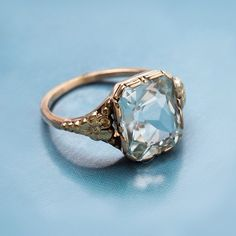 LOVE this. || Aquamarine 14k yellow gold ring c. 1940 || Trumpet & Horn