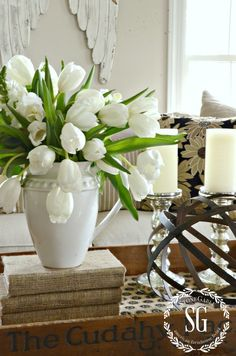 5 GREAT USES FOR WHITE IRONSTONE PITCHERS... FARMHOUSE STYLE-pither with white tulips-stonegableblog.com