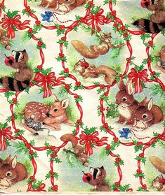 Retro Vintage Christmas Critters 8x10 Handmade Craft Fabric Block - Great for Quilting, Pillows & Wa