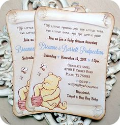 Vintage Inspired Classic Winnie the Pooh Baby Shower Invitations - Set of 10 - Birthday Invitations