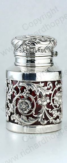Antique Sampson Mordan scent perfume bottle. Sterling silver caged ruby glass, embossed hinged top, London 1891. To visit my website click here: http://www.richardhoppe.co.uk or for help or information email us here: info@richardhoppe.co.uk