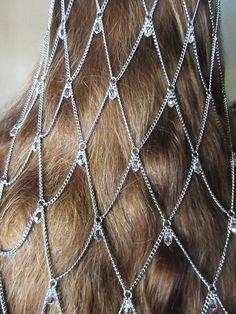 Swarovski Crystal Chainmaille Headdress by RingedDesigns on Etsy