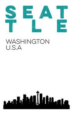 Seattle Skyline Print.  Seattle Washington City Poster. 11x17 art