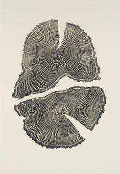 'Acorn' by American artist Bryan Nash Gill (1961-2013). Woodcut (relief print). via Trendland