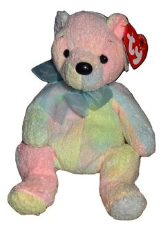 d9454be1d43 TY Beanie Baby Mellow Bear Soft Pastel Colors Tie Dye PE Pellets 2000 TH  Ty