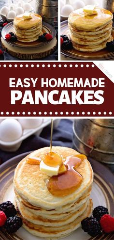 Amazing homemade pancakes for a quick Christmas morning breakfast or brunch! Easy Homemade Pancakes Recipe makes use of pantry staples for light and f. Quick And Easy Pancake Recipe, Easy Pancake Mix, Easy Homemade Pancakes, How To Make Pancakes, Melange A Crepe, Easy Holiday Recipes, Easy Recipes, Dinner Recipes, Crepe Recipes