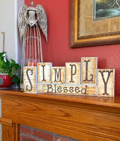 Wood block set/Simply Blessed/distressed wood/shabby