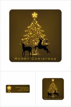 Merry Christmas Golden Tree and Silhouette Deer Holiday Collection.  Available on holiday greeting cards, custom postage stamps, address labels and stickers.