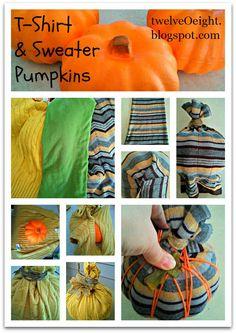 twelve-O-eight: Dollar Store Craft: T-Shirt & Sweater Pumpkins