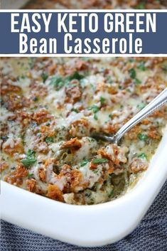 This delicious Keto Green Bean Casserole is easy to make and a fabulous substitute for the traditional recipe. Topped with a delicious onion flavored crispy cheese topping, you'll love this creamy and cheesy homemade gluten free low carb version. Casserole Dishes, Casserole Recipes, Keto Casserole, Breakfast Casserole, Breakfast Gravy, Breakfast Quiche, Sausage Breakfast, Slow Cooker, Greenbean Casserole Recipe